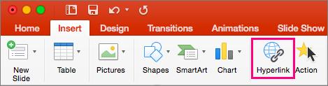 Tiek rādīta cilne Ievietot programmā PowerPoint 2016 for Mac