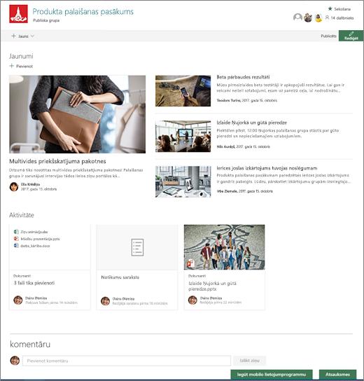 SharePoint Teams vietnes sākumlapa