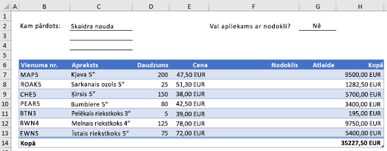 Example order form without a custom function