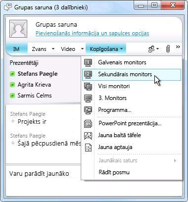 Microsoft Lync logs ar ekrāna koplietošanas opcijām