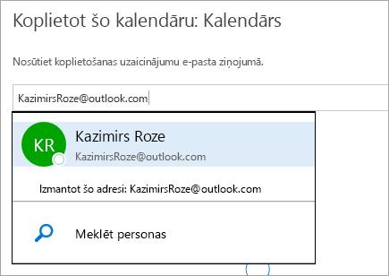 Ekrānuzņēmums ar dialoglodziņu Kalendāra koplietošana vietnē Outlook.com.