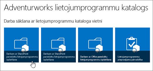Darba sākšana ar programmu kataloga elementus ar programmu izplatīšana programmu SharePoint iezīmēta.