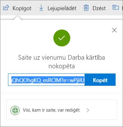 Saites kopēšanas apstiprinājums, koplietojot failus ar saiti OneDrive krātuvē