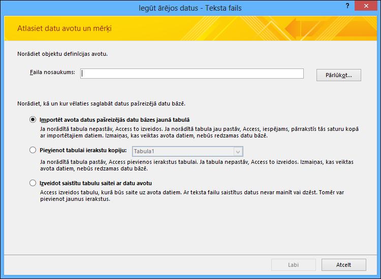 Atlasiet, lai importētu, pievienotu teksta failu vai norādītu saiti uz to.