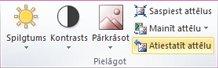 Poga Atiestatīt attēlu programmā Publisher 2010