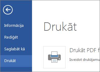 Komanda Drukāt programmā Word Web App