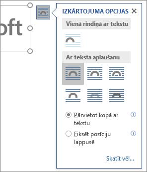 Noklikšķiniet uz izkārtojuma opcijām, lai izvēlētos, kā teksts tiks sapludināts ar ievietoto attēlu.
