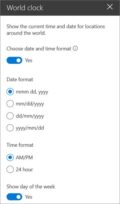 SharePoint vietņu tīmekļa daļa, kurā redzams, kā pielāgot datuma un laika formatējumu