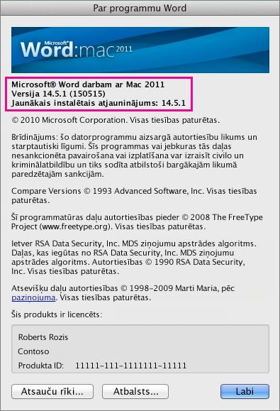 Programma Word for Mac 2011, kurā redzama lapa Par Word