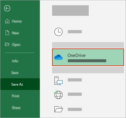 Office dialoglodziņš Saglabāt kā, kurā tiek rādīta OneDrive mape