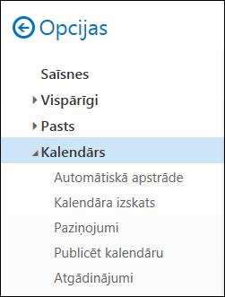 Outlook web kalendāra opcijas