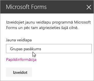 Microsoft Forms tīmekļa daļas panelis jaunai veidlapai.