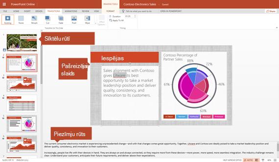 Rediģēšanas skats programmā PowerPoint Online