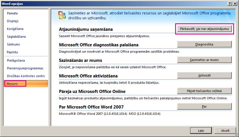 Office atjauninājumu meklēšana programmā Word2007