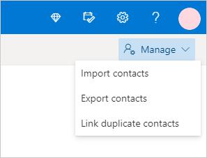 Kontaktpersonu pārvaldības izvēlne programmā Outlook.com