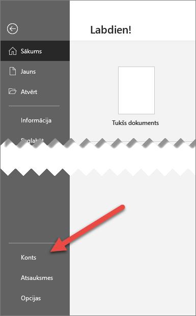 Office cilne Fails ar bultiņu, kas norāda uz opciju Konts
