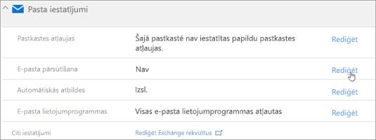 Ekrānuzņēmums: Izvēlieties Rediģēt, lai konfigurētu e-pasta pārsūtīšanas