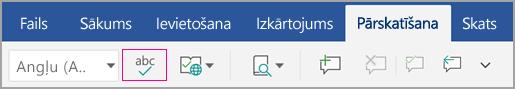 Pareizrakstības pārbaudes ikona cilnē pārskatīšana