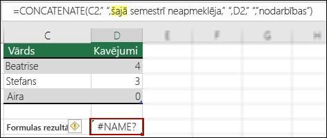 Kļūda #NAME?, kuru izraisījis dubulto pēdiņu iztrūkums teksta vērtībās