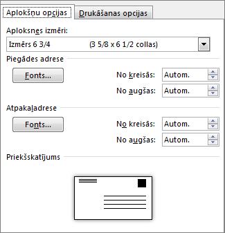 Aplokšņu opciju cilne, lai iestatītu aploksnes izmēru un adreses fontus