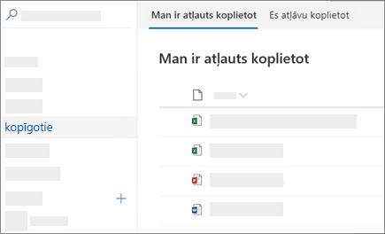 Ekrānuzņēmums, kurā redzams skats koplietots ar mani pakalpojumā OneDrive darbam tīmeklī