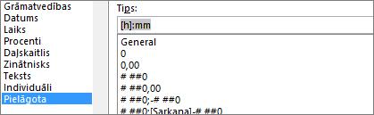 Dialoglodziņš Šūnu formatēšana, pielāgota komanda, [h]: mm tips