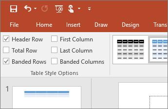 Ekrānuzņēmums ar izvēles rūtiņu Galvenes rinda cilnes Tabulas rīku noformējums grupā Tabulas stilu opcijas
