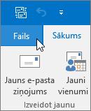 Ekrānuzņēmums ar izvēlni Fails programmā Outlook 2016
