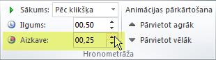 Animācijas efektu opcija Aizkave programmā PowerPoint