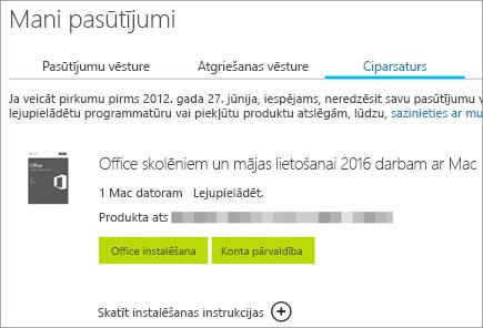 Tiek parādīts Office ciparu pasūtījums, Office produkta atslēga un pogas, ar kuru palīdzību var instalēt sistēmu Office un pārvaldīt Microsoft kontu.
