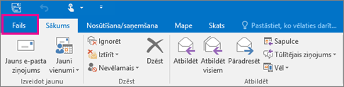 Kā izskatās lente programmā Outlook2016