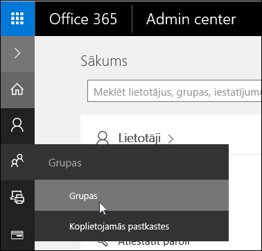 Izvēlieties grupas kreisajā navigācijas rūti, lai piekļūtu grupas pakalpojumā Office 365 nomniekam