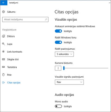 Vieglpiekļuves un citu opciju rūts Windows10 iestatījumos