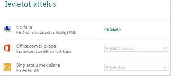 Attēla ievietošanas dialoglodziņš programmā Publisher2013