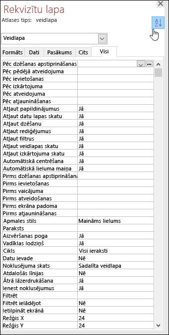 Ekrānuzņēmums ar Access rekvizītu lapu, kurā rekvizīti sakārtoti alfabētiskā secībā