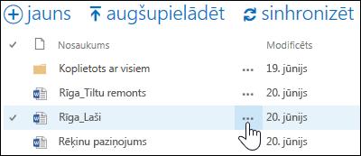 Atlasiet trīspunktes ikonu Vairāk blakus dokumenta nosaukumam pakalpojumā OneDrive darbam, lai atvērtu dokumenta norādīšanas karti