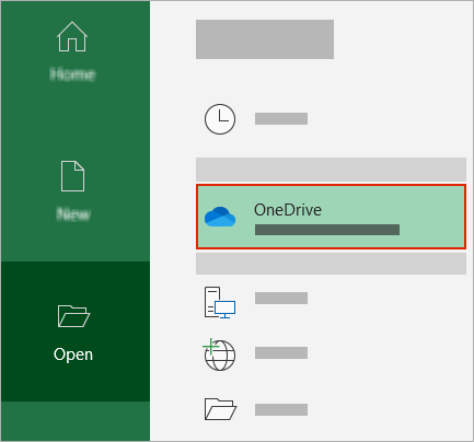 Office atvēršanas dialogs, kurā tiek rādīta OneDrive mape