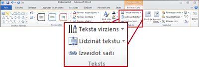 Sadaļa Zīmēšanas rīki, cilne Formatēšana Word 2010 lentē.