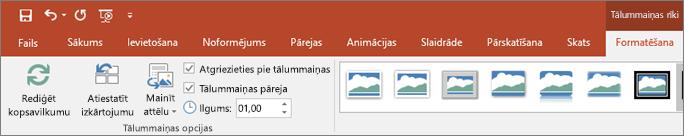 Parāda tālummaiņas rīki cilnes Formatēšana PowerPoint lentē.