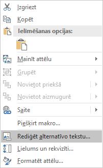 Excel Win32 Alt teksta rediģēšanas izvēlne attēli