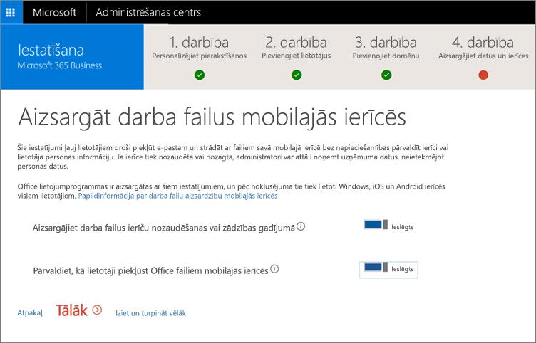 Ekrānuzņēmums ar lapu par darba failu aizsargāšanu mobilajās ierīcēs