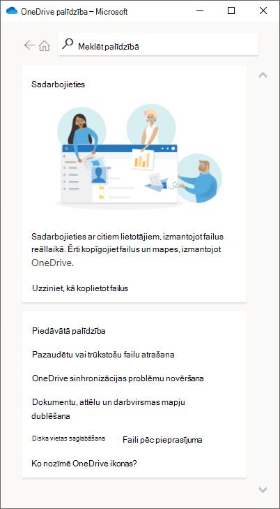 OneDrive sinhronizācijas palīdzības rūts pēc kontaktpersonu atbalsta atspējošanas. Kontaktpersonas vizītkarte vairs nav pieejama.