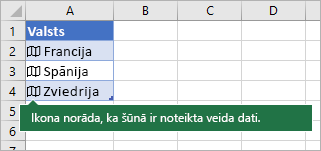 Četras šūnas (katrā šūnā ietverta kartes ikona un valsts/reģiona nosaukums)