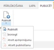 Publicēšanas cilnes, kurā ir pogas publicēšanai, publicēšanas atcelšanai un publicētās lapas iesniegšanai apstiprināšanai, ekrānuzņēmums