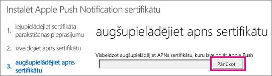 Augšupielādējiet sertifikātu, ko izveidojāt Apple pašpiegādes sertifikātu portālā.