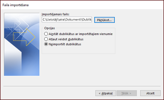 Atlasiet importējamo failu.