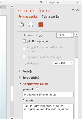 Ekrānuzņēmums ar rūts Formas formatēšana alternatīvā teksta lodziņiem, kuros aprakstīta atlasītā tabula
