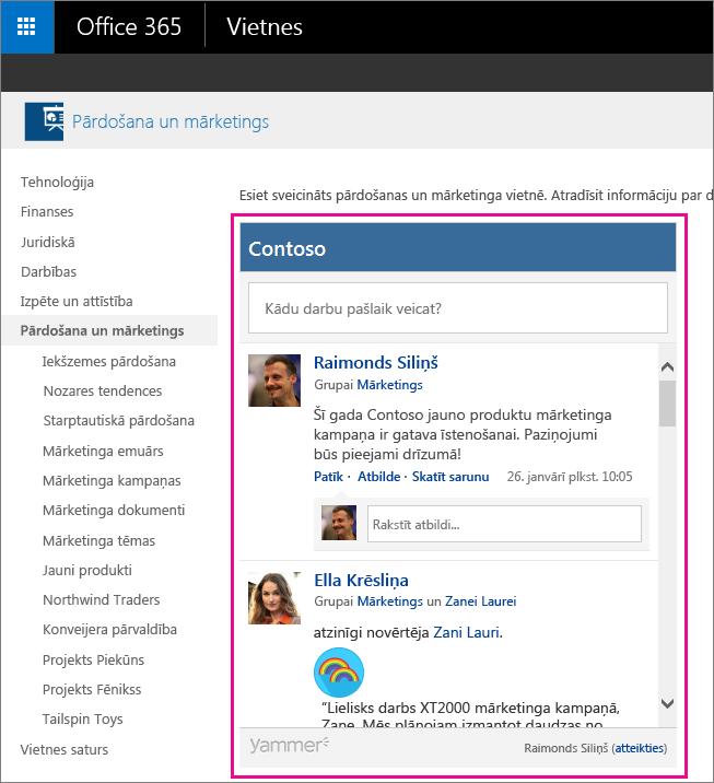 SharePoint lapā iegulta Yammer grupas plūsma