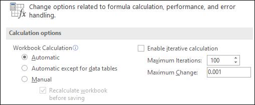Opciju Automātiskā un manuālā aprēķināšana attēls