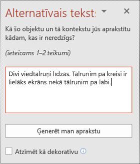 Alternatīvā teksta rūts programmā PowerPoint Windows